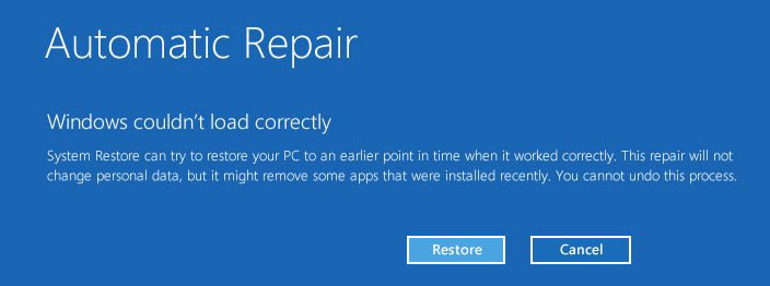 Windows Couldn't Load Correctly - Automatic Repair