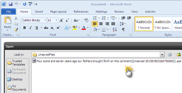microsoft word how to recover unsaved documents
