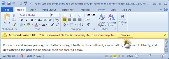 how to recover unsaved microsoft word files