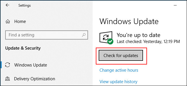 check for Windows update