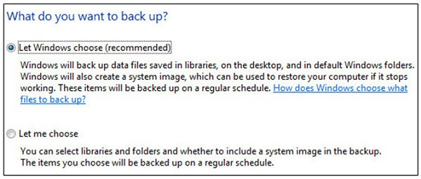 choose what you want to backup