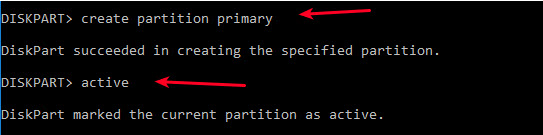 create partition primary active