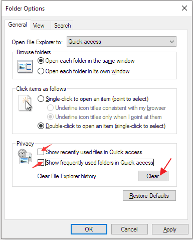 disable quick access