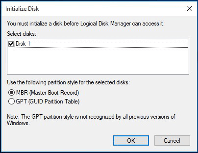 disk manager initialize disk