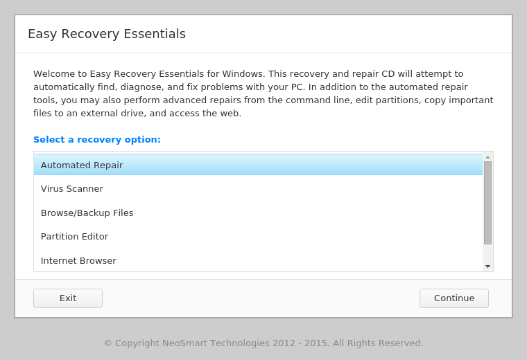 Main screen of Easy Recovery Essentials Free