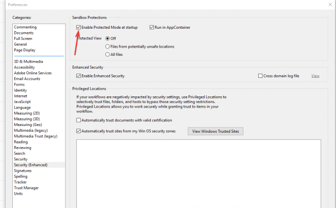 disable protected mode of Adobe Reader