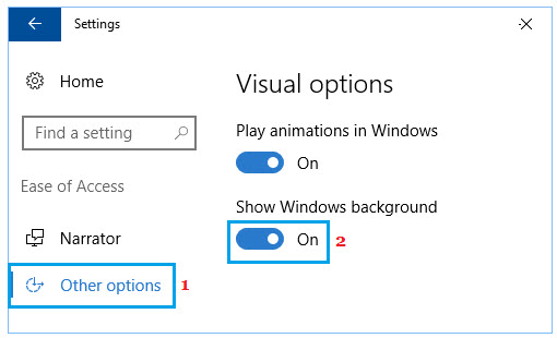enable show windows background