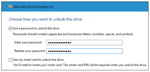use a password to unlock the drive