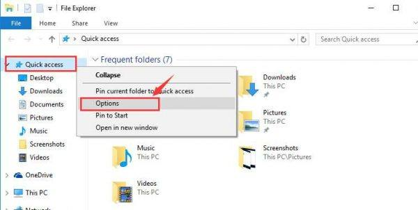 cannot open file explorer in windows 10 - create a new path & clear history cache