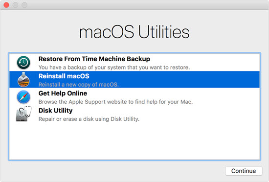 macos high sierra recovery mode utilities