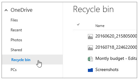 onedrive recycle bin restore all items