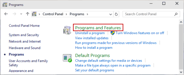 Open Programs and Features in control panel