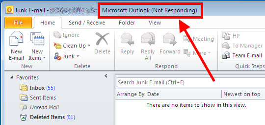 Outlook not responding