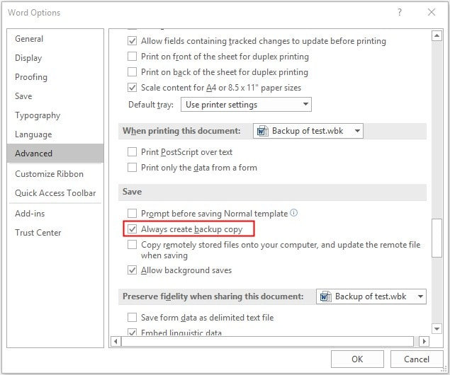 recover a saved over word document from backup copy