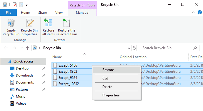 recover deleted audio files from recycle bin