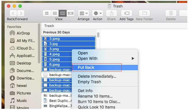 recover files from Mac trash