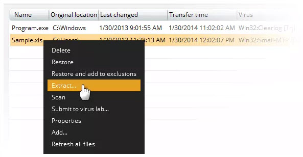 extract selected files