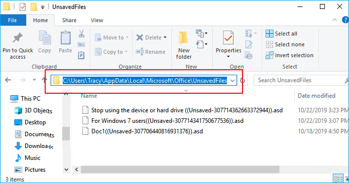 recover unsaved word