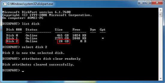 cannot format write protected card - remove write protection from sd card with diskpart