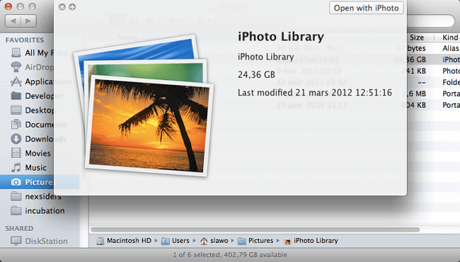 restore iPhoto Library from Time Machine backup