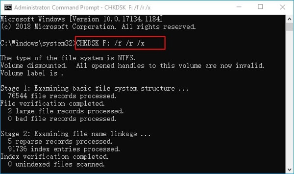 how to run chkdsk command to fix corrupted files