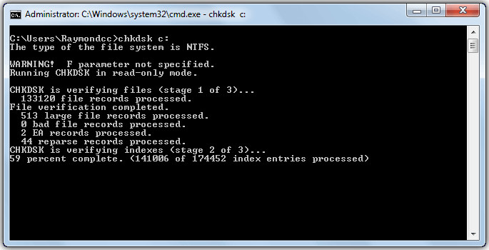 Run CHKDSK command to fix the parameter is incorrect error