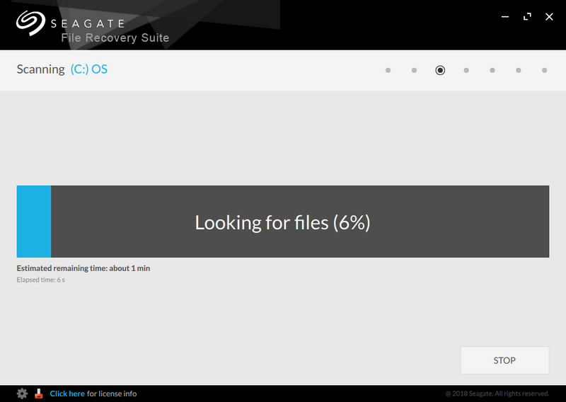Seagate File Recovery Suite scanning files