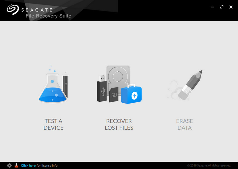 Main screen of Seagate File Recovery Suite