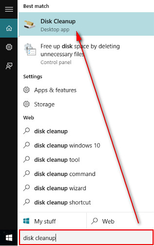 Search diskcleanup in the search bar