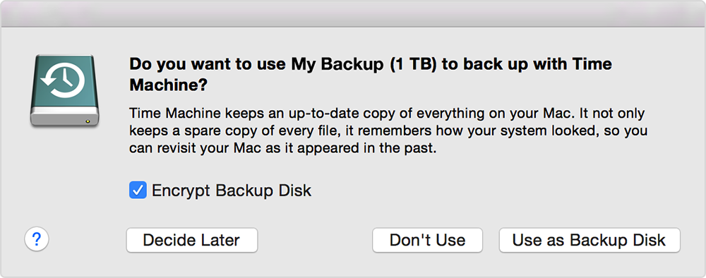 Select your storage device as the backup disk