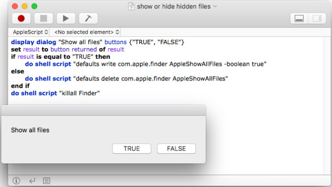 Show hidden files on Mac with Applescript