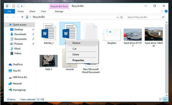 files recovery windows 10 recycle bin