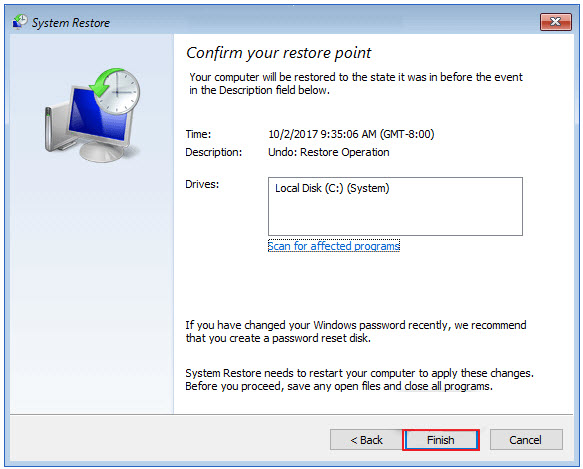 system restore finished