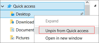 Unpin from Quick Access
