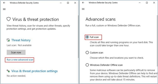 windows defender full scan