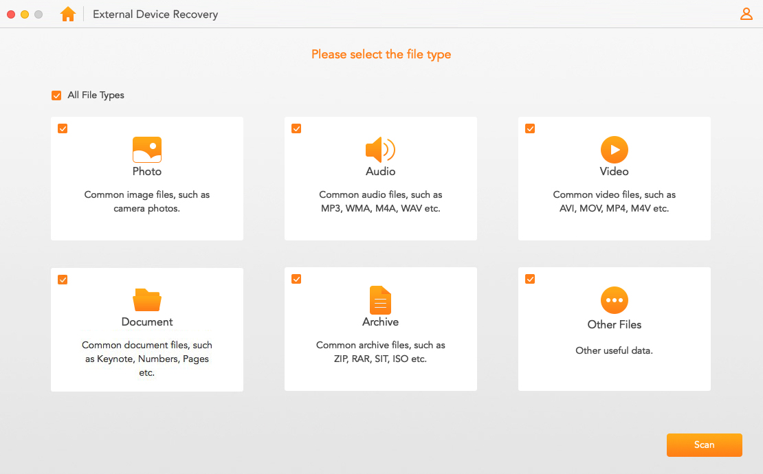 external device recovery select file type mac