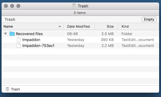 mac trash recovered files