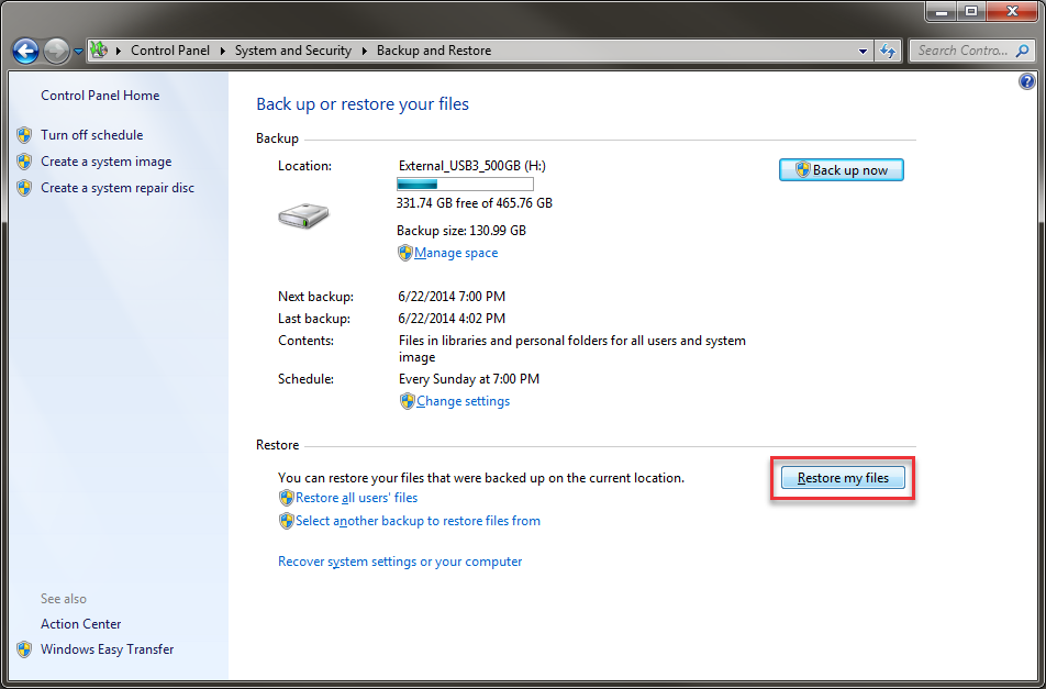 restore backup windows 7