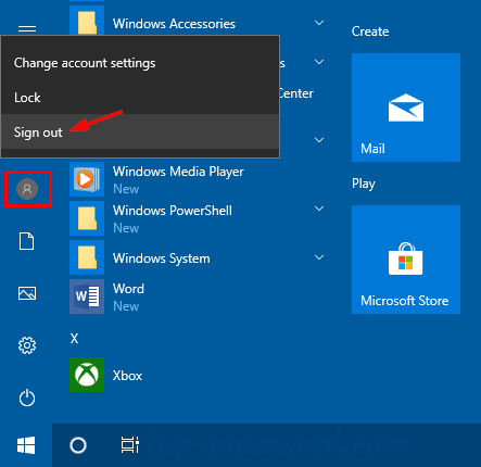 sign out windows 10