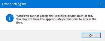 windows cannot access the specified device path or file